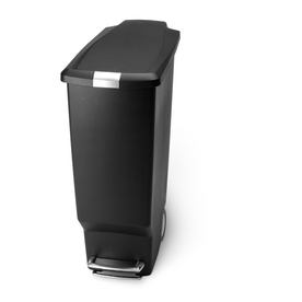 simplehuman 40-Liter Black Plastic Indoor Wheeled Garbage Can