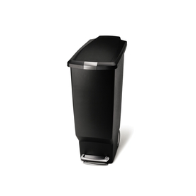 simplehuman 40-Liter Black Plastic Wheeled Trash Can
