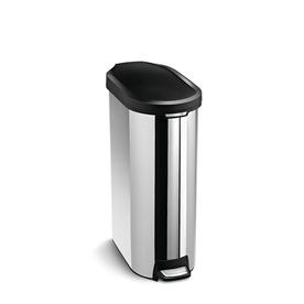 simplehuman 45 Liter Polished Slim Trim Ring Step Can