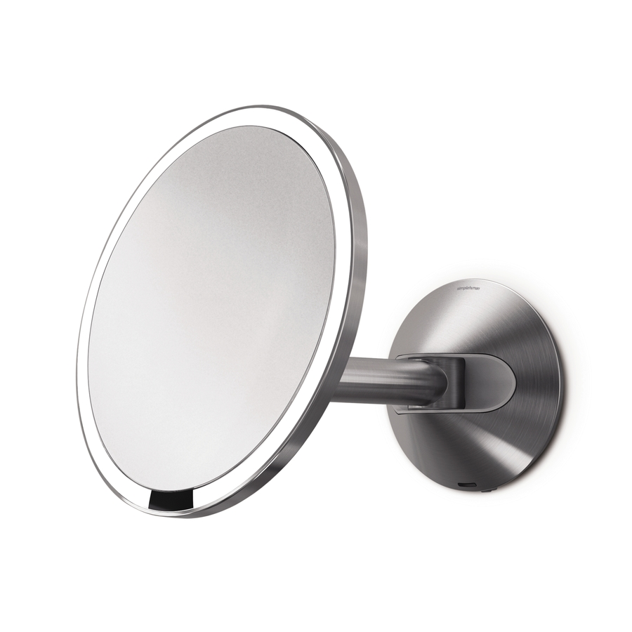 steel magnifying wall mounted vanity mirror with light at. Black Bedroom Furniture Sets. Home Design Ideas