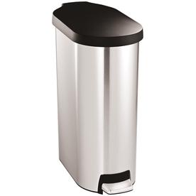 simplehuman 45 Liter(S) Brushed Stainless Steel Plastic Lid Slim Step Indoor Garbage Can