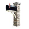 Eye Level Gray Cast Stone Mailbox Post