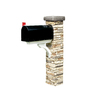 Eye Level Stacked Stone Beige Mailbox Post