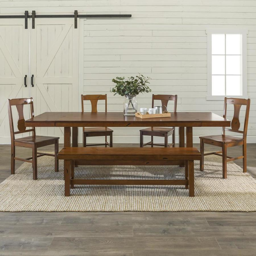 Walker Edison Dark Oak Dining Room Set With Rectangular Table In The Dining Room Sets Department At Lowes Com