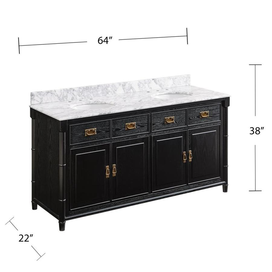48 Inch Bath Vanity, Boston Loft Furnishings Stemdo 63 In Black With White And Gray Marble Double Sink Bathroom Vanity With White And Gray Marble Top In The Bathroom Vanities With Tops Department At Lowes Com