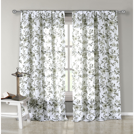 Shop Duck River Textile 84 In L Light Filtering Floral Grey Olive Tab Top Window Curtain Panel
