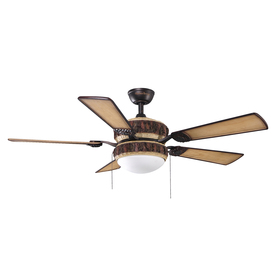 Harbor Breeze Highlander 52-in Aged Bronze Downrod Mount Indoor Ceiling Fan with Light Kit