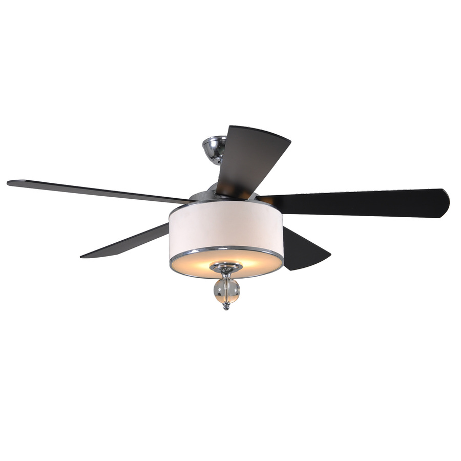 Shop allen + roth Victoria Harbor 52-in Polished Chrome Downrod Mount Ceiling Fan with Light Kit ...