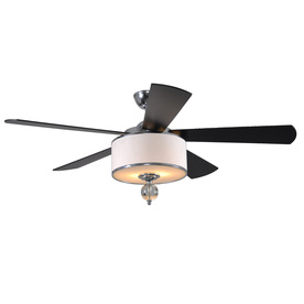 allen + roth 52-in Victoria Harbor Polished Chrome Ceiling Fan with Light Kit and Remote