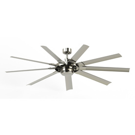 Outdoor Ceiling Fan Reviews: Fanimation Studio Collection Slinger V2 72-in Brushed Nickel Downrod Mount  Indoor/Outdoor Commercial,Lighting