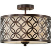 allen + roth Earling 15-in W Fabric Semi-Flush Mount Light