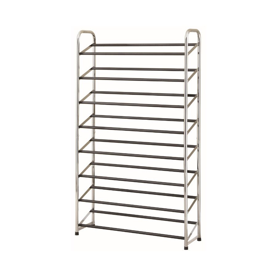 Shop Style Selections 30 Pair Chrome Black Coated Metal Shoe Rack At Lowes Com