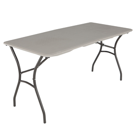 LIFETIME PRODUCTS 60-in x 27.5-in Rectangular Steel Putty Folding Table