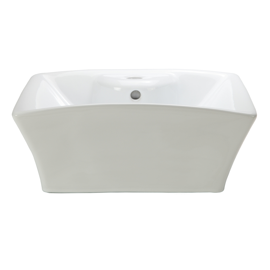 Above Counter Bathroom Sink : ... Redefined White Vessel Square Bathroom Sink with Overflow at Lowes.com
