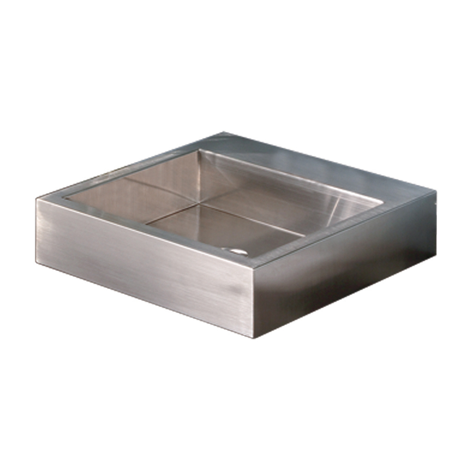 Stainless Steel Sink With Counter : ... Stainless Brushed Stainless Steel Vessel Rectangular Bathroom Sink at