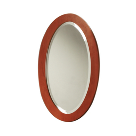 DECOLAV 27-1/2-in H x 16-in W Ancahra Cherry Oval Bathroom Mirror