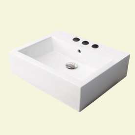 Shop Decolav Classically Redefined Ceramic White Drop In Square Bathroom Sink With Overflow At