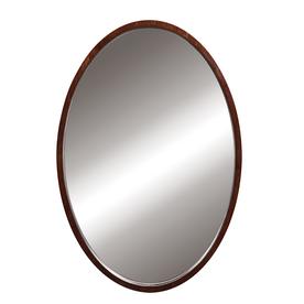 DECOLAV 32-in H x 24-in W Lola Collection Dark Walnut Round Bathroom Mirror