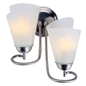 Portfolio 11-in W 2-Light Brushed Nickel Arm Wall Sconce
