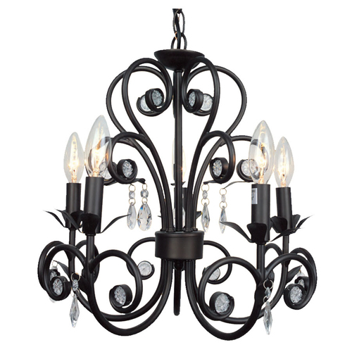 Shop Portfolio 5-Light Llana Black Bronze with Red Chandelier at