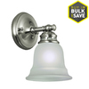 Project Source Fallsbrook 6.14-in W 1-Light Brushed Nickel Arm Hardwired Wall Sconce