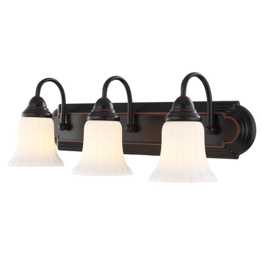 shop portfolio 3 light oil rubbed bronze bathroom vanity light at. Black Bedroom Furniture Sets. Home Design Ideas