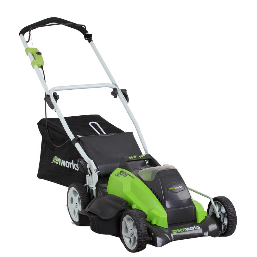 shop greenworks 40 volt 19 in cordless electric push lawn. Black Bedroom Furniture Sets. Home Design Ideas