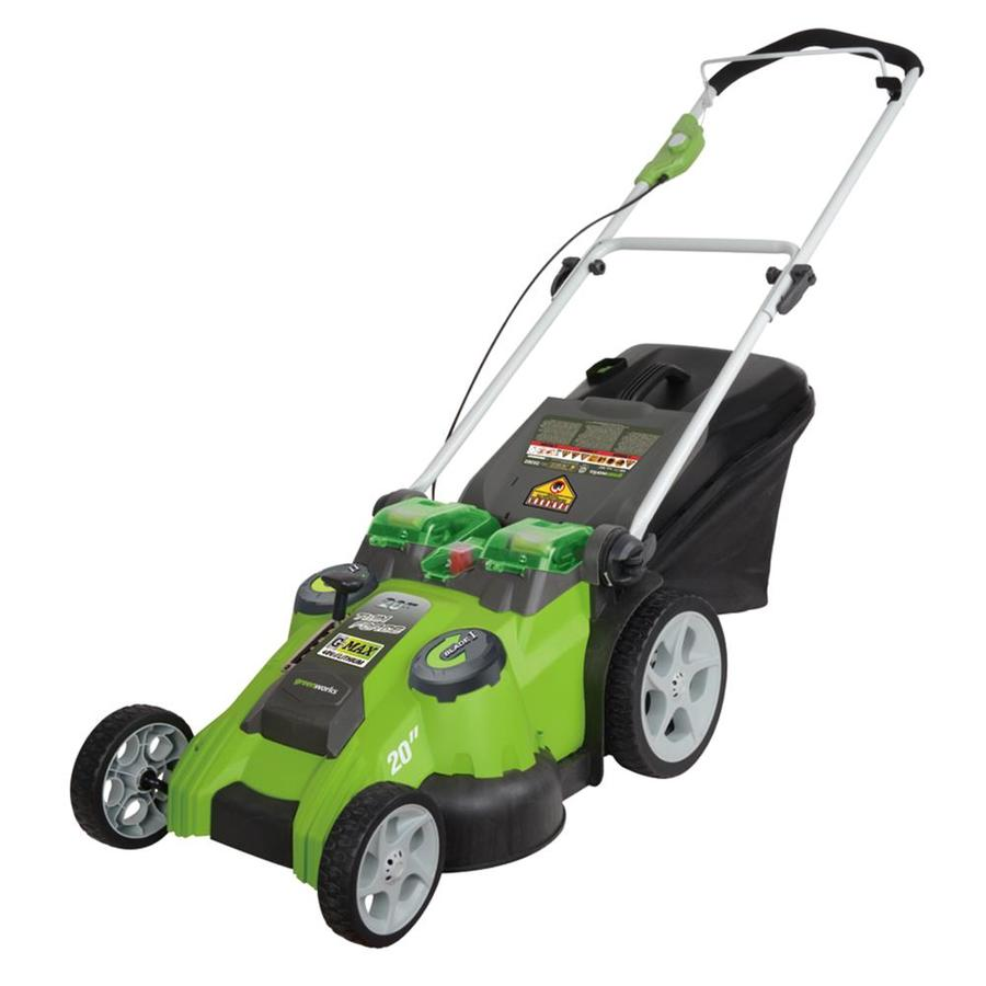 Shop Greenworks 40 Volt 20 In Cordless Electric Push Lawn Mower With Mulching Capability At