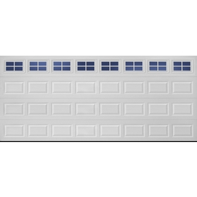 ReliaBilt 16-ft x 7-ft Traditional Insulated White Double Garage Door with Windows