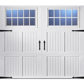 Pella Carriage House Series 96-in x 84-in Insulated White Garage Door with Windows