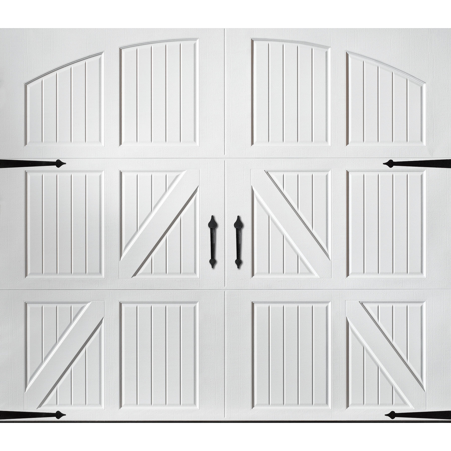 Shop pella carriage house series 8 ft x 7 ft white single for 16 ft garage door prices