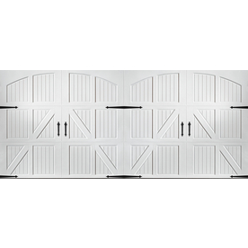 Shop pella carriage house series 16 ft x 7 ft white double for 16 ft garage door panels