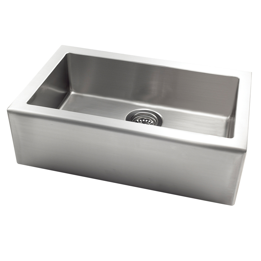 Shop jacuzzi stainless steel single basin apron front farmhouse kitchen sink at - Kitchen sinks apron front ...