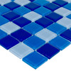 Elida Ceramica Blue Multicolor Uniform Squares Mosaic Glass Wall Tile (Common: 12-in x 12-in; Actual: 11.75-in x 11.75-in)
