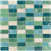 Elida Ceramica Minty Brick Straight Stack Mosaic Stone and Glass Travertine Wall Tile (Common: 12-in x 12-in; Actual: 11.75-in x 11.75-in)