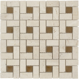 Elida Ceramica Glass Mosaic Tumbled Eye Uniform Squares Mosaic Glass Wall Tile (Common: 12-in x 12-in; Actual: 11.75-in x 11.75-in)