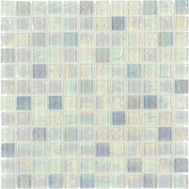 Elida Ceramica Blue Oil Uniform Squares Mosaic Glass Wall Tile (Common: 12-in x 12-in; Actual: 11.75-in x 11.75-in)
