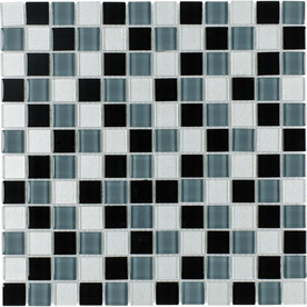 Elida Ceramica 12-in x 12-in Charcoal Glass Wall Tile