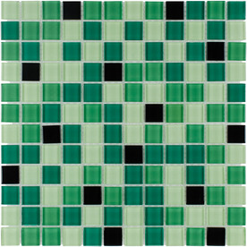 Elida Ceramica Pop Green Uniform Squares Mosaic Glass Wall Tile (Common: 12-in x 12-in; Actual: 11.75-in x 11.75-in)
