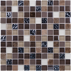 Elida Ceramica Coral Dark Glass Mosaic Square Indoor/Outdoor Wall Tile (Common: 12-in x 12-in; Actual: 11.75-in x 11.75-in)