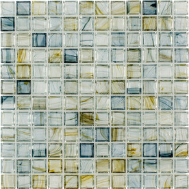 Elida Ceramica Glass Mosaic Celestial Blue Glass Mosaic Square Wall Tile (Common: 12-in x 12-in; Actual: 11.75-in x 11.75-in)