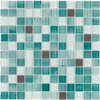 Elida Ceramica Glass Mosaic Royal Green Uniform Squares Mosaic Glass and Metal Wall Tile (Common: 12-in x 12-in; Actual: 11.75-in x 11.75-in)