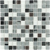 Elida Ceramica Dark Nights Uniform Squares Mosaic Glass and Metal Wall Tile (Common: 12-in x 12-in; Actual: 11.75-in x 11.75-in)