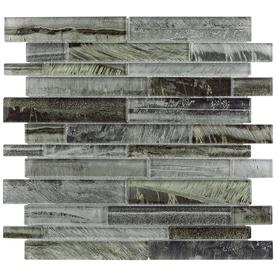 allen + roth 1 Shimmering Lights Linear Mosaic Glass Wall Tile (Common: 12-in x 12-in; Actual: 11.75-in x 11.75-in)