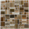 Elida Ceramica Glass Mosaic Dark Straw Brush Strokes Uniform Squares Mosaic Glass Wall Tile (Common: 12-in x 12-in; Actual: 11.75-in x 11.75-in)