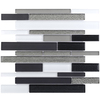 Elida Ceramica 1 Black Diamonds Linear Mosaic Glass Wall Tile (Common: 12-in x 14-in; Actual: 11.75-in x 11.75-in)
