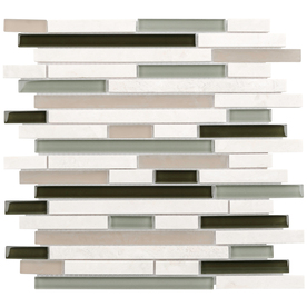 Elida Ceramica Dunes Seagrass Mosaic Stone and Glass Wall Tile (Common: 12-in x 14-in; Actual: 11.75-in x 11.75-in)