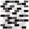 Elida Ceramica Midnight Brick Mosaic Stone and Glass Marble Wall Tile (Common: 12-in x 12-in; Actual: 10.75-in x 11.75-in)