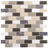 Elida Ceramica 1 Light Olive Brick Mosaic Stone and Glass Travertine Wall Tile (Common: 12-in x 12-in; Actual: 10.75-in x 11.75-in)