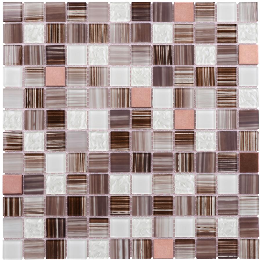 shop elida ceramica brushed copper stone glass metal mosaic peel and stick wall tile common 12. Black Bedroom Furniture Sets. Home Design Ideas